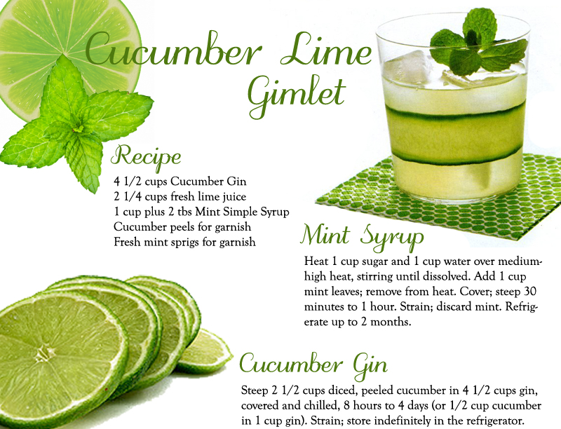 ... Cucumber Lime Gimlet which looks perfect to serve for the last real